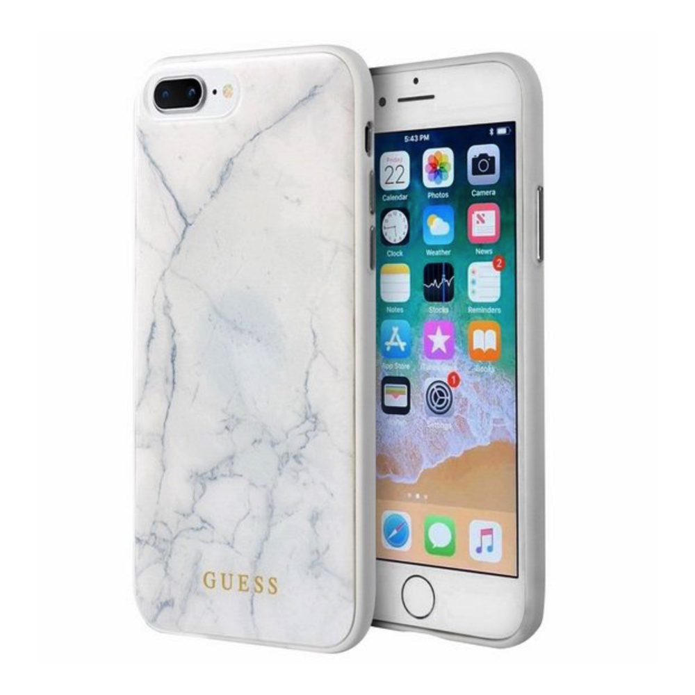GUESS iPhone 7 Plus / 8 Plus Marble white