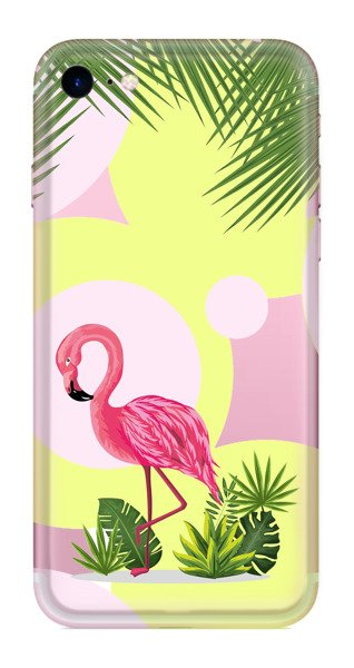 FUNNY CASE iPhone 7 / 8 / SE 2020 flamingo and flowers
