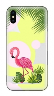FUNNY CASE iPhone X / XS flamingo and flowers