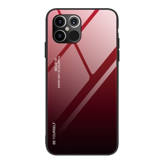 Gradient Glass Durable iPhone 12 Pro Max - black-red