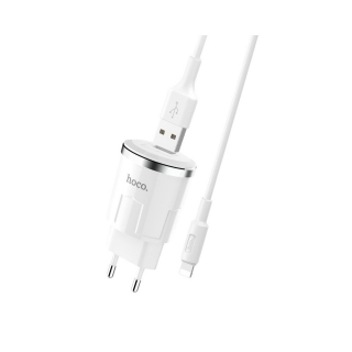 HOCO charger 2,4A + Lightning kabel white