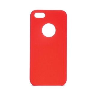 Forcell Silicone iPhone 5 / 5S / SE red (s otvorom pre logo)